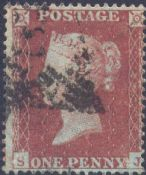1854 1d Red SG17 Plate 182 'SJ'
